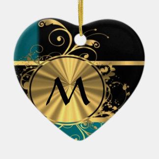 Oro verde del trullo y monograma negro adorno de cerámica en forma de corazón