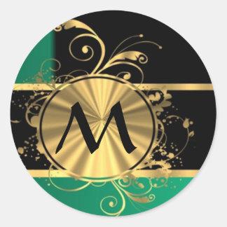 Oro verde personalizado y monograma negro pegatina redonda
