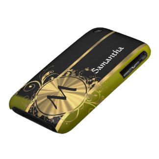 Oro verde personalizado y negro iPhone 3 cárcasa