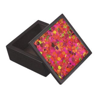 Oro verde rojo y decorativo colorido de los puntos caja de recuerdo de calidad