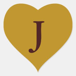 oro viejo con la letra J Pegatina En Forma De Corazón