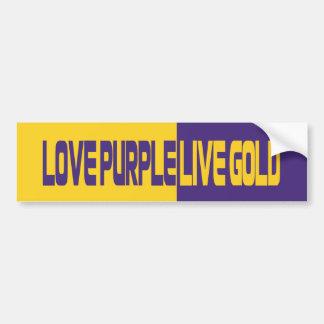 Oro vivo de la púrpura del amor pegatina para auto