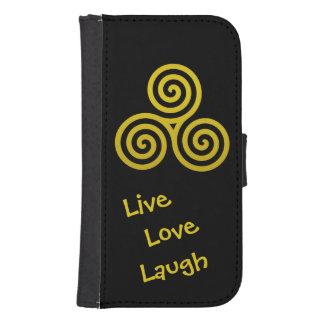 Oro vivo de la risa del amor del espiral triple billetera para teléfono