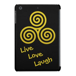 Oro vivo de la risa del amor del espiral triple funda para iPad mini retina