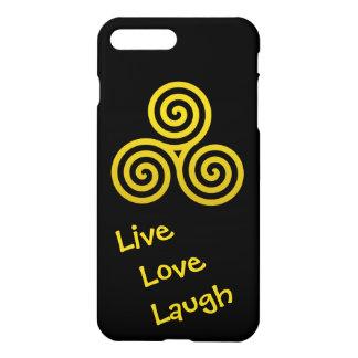 Oro vivo de la risa del amor del espiral triple funda para iPhone 7 plus