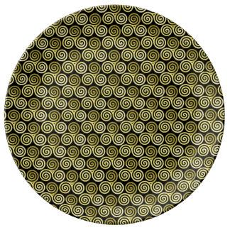 Oro vivo de la risa del amor del espiral triple platos de cerámica