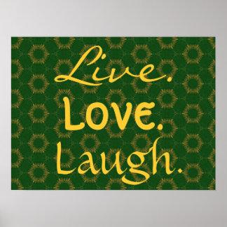 Oro vivo y modelo verde 005 de la risa del amor de póster