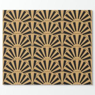 Oro y adorno negro de las flores de la fan del art papel de regalo