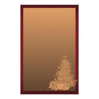 Oro y árbol de navidad rojo personalized stationery