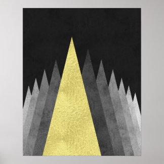 Oro y arte geométrico mínimo moderno del negro