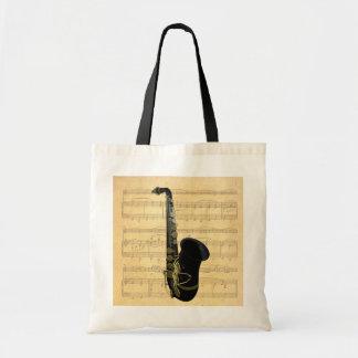 Oro y artes y compras negros de la lona del saxofó bolsa lienzo
