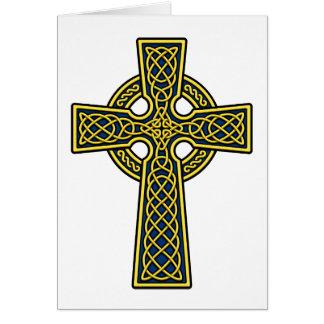 Oro y azul de la cruz céltica tarjeta de felicitación