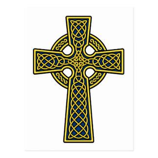 Oro y azul de la cruz céltica tarjeta postal