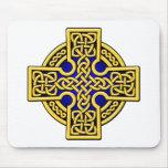 Oro y azul de la manera del Celtic 4 Tapetes De Ratón