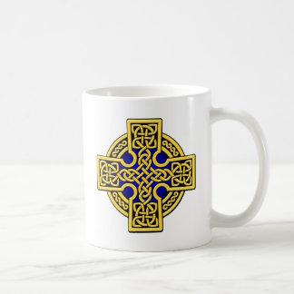 Oro y azul de la manera del Celtic 4 Taza De Café