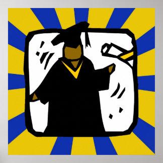 Oro y azul de recepción graduados del diploma (1) póster