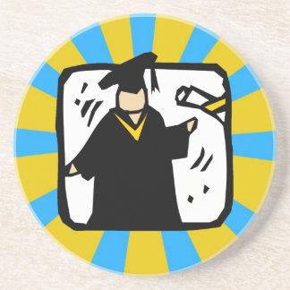 Oro y azul de recepción graduados del diploma (2) posavasos para bebidas
