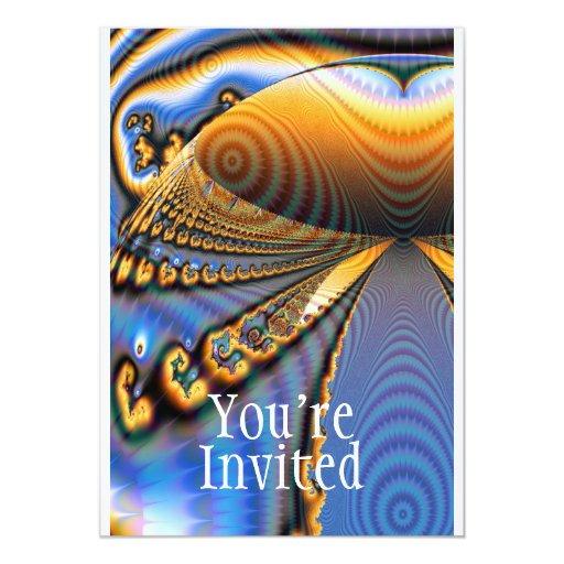 Oro y azul del fractal de la brillantez de la invitación 12,7 x 17,8 cm
