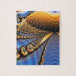 Oro y azul del fractal de la brillantez de la mari puzzles con fotos