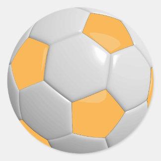 Oro y balón de fútbol blanco etiquetas redondas
