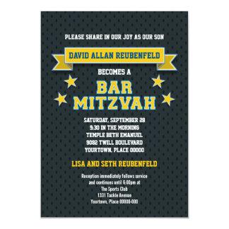 """Oro y barra azul Mitzvah de la tela cruzada de los Invitación 5"""" X 7"""""""