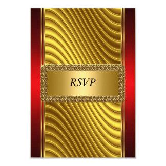 Oro y barra roja Mitzvah RSVP del art déco Invitación 8,9 X 12,7 Cm