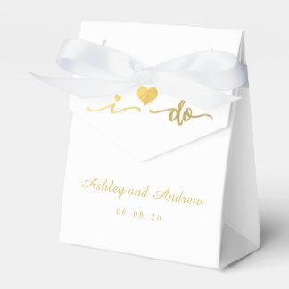 Oro y blanco hago la caja del favor del boda caja para regalo de boda
