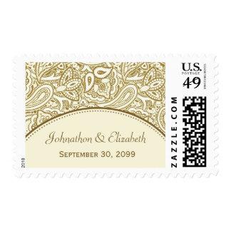 Oro y boda blanco del damasco de Paisley Timbre Postal