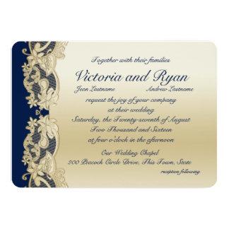 """Oro y boda floral de los azules marinos invitación 5"""" x 7"""""""