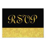 Oro y boda negro del damasco de RSVP Invitación 8,9 X 12,7 Cm