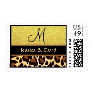 Oro y boda negro del monograma del estampado sello