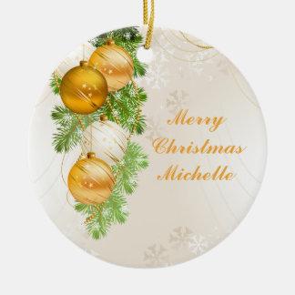 Oro y bolas del navidad blanco adorno
