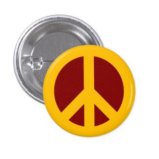 Oro y botón marrón del símbolo de paz pins