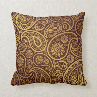 Oro y Brown hermosos grandes Paisleys Cojín