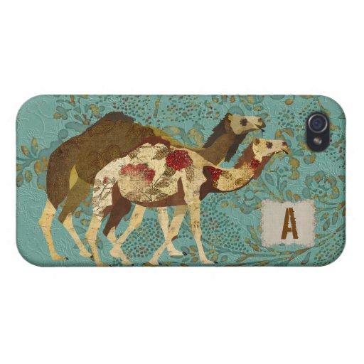 Oro y caja color de rosa del iPhone de los camello iPhone 4 Fundas