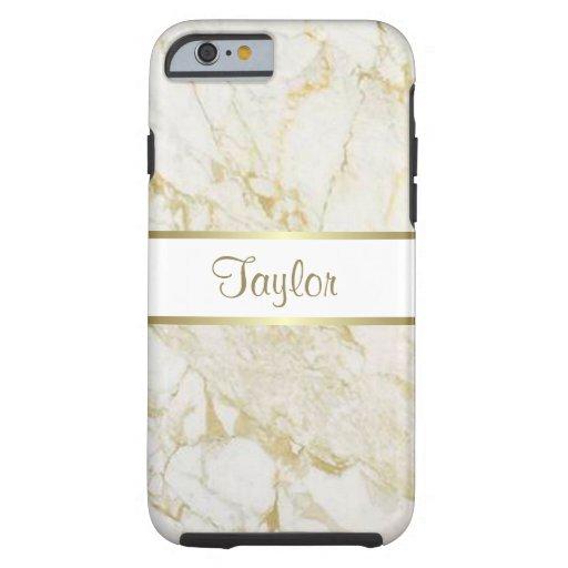 Oro y caja dura de mármol blanca del iPhone 6 Funda De iPhone 6 Tough
