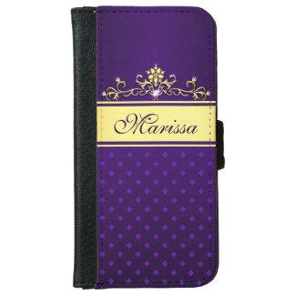 Oro y caja púrpura de la cartera del iPhone 6 de Carcasa De iPhone 6
