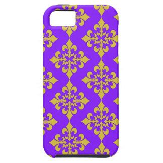 Oro y cajas y cubiertas púrpuras de la flor de lis iPhone 5 carcasas