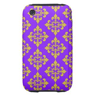Oro y cajas y cubiertas púrpuras de la flor de lis tough iPhone 3 cárcasas