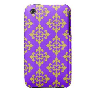 Oro y cajas y cubiertas púrpuras de la flor de lis iPhone 3 Case-Mate fundas