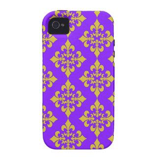 Oro y cajas y cubiertas púrpuras de la flor de lis iPhone 4/4S carcasas