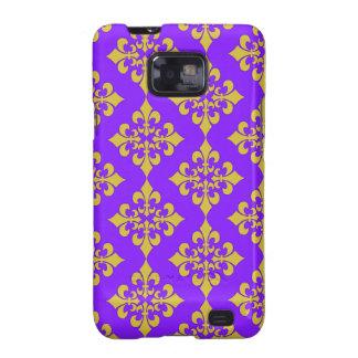 Oro y cajas y cubiertas púrpuras de la flor de lis galaxy s2 carcasa