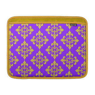Oro y cajas y cubiertas púrpuras de la flor de lis fundas para macbook air