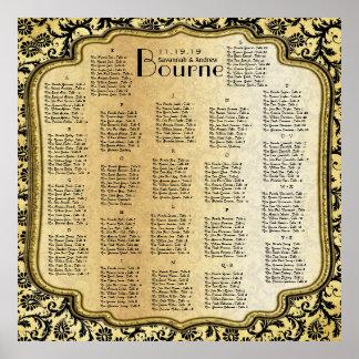 Oro y carta negra del asiento del boda del damasco póster