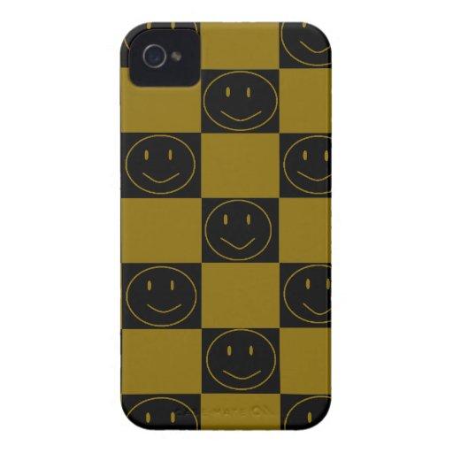 Oro y caso feliz a cuadros del iPhone 4 de las car iPhone 4 Case-Mate Cobertura