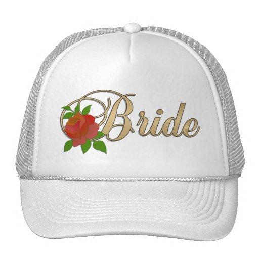 Oro y CASQUILLO blanco de la novia con el rosa Gorros Bordados
