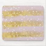 Oro y confeti de Bokeh de las rayas del rosa Mousepad