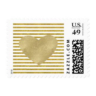 Oro y corazón blanco de las rayas de la moda sello