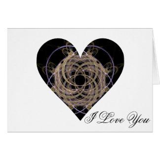 Oro y corazón espiral azul del arte del fractal tarjeta de felicitación