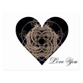 Oro y corazón espiral azul del arte del fractal tarjeta postal